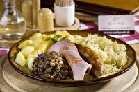 'Zabijačka'  - Pork meat plate, sauerkraut and boiled potatoes